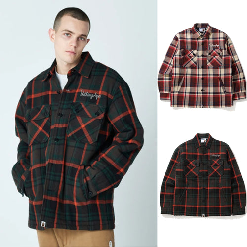 A BATHING APE BAPE CHECK CPO JACKET