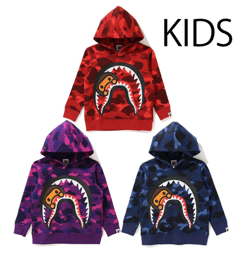 A BATHING APE BAPE KIDS COLOR CAMO MILO SHARK PULLOVER HOODIE