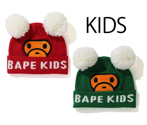 A BATHING APE BAPE KIDS BABY MILO DOUBLE POMPON KNIT CAP