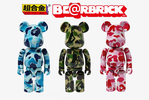 A BATHING APE BAPE X MEDICOM TOY ABC CAMO BE@RBRICK CHOGOKIN BEARBRICK 3colors set