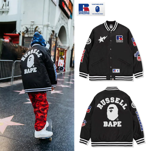 A BATHING APE × RUSSELL ATHLETIC BAPE x RUSSELL COLLEGE VARSITY JACKET