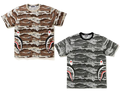A BATHING APE DESERT CAMO SIDE SHARK TEE