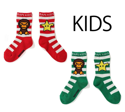 A BATHING APE BAPE KIDS BABY MILO STA BORDER SOCKS