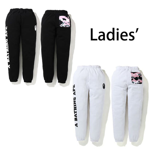 A BATHING APE LADIES' WARM UP CAMO POCKET SWEAT PANTS - happyjagabee store
