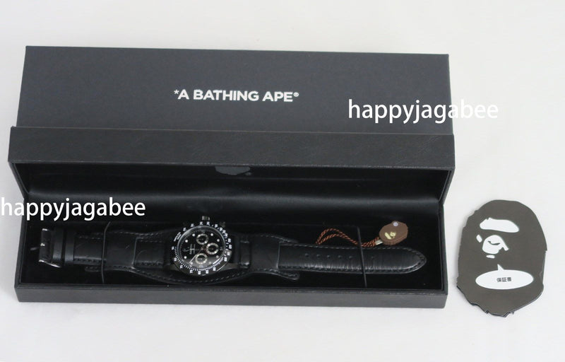 A BATHING APE TYPE-3 BAPEX LEATHER BELT Black New - happyjagabee store