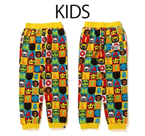 A BATHING APE BAPE KIDS MILO FRIENDS BLOCK SWEAT PANTS