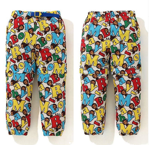 A BATHING APE BAPE KIDS BABY MILO ALPHABET 2WAY PANTS