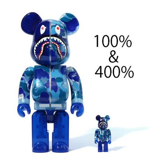 A BATHING APE CLEAR ABC CAMO SHARK BE@RBRICK BEARBRICK 100%&400% SET BLUE