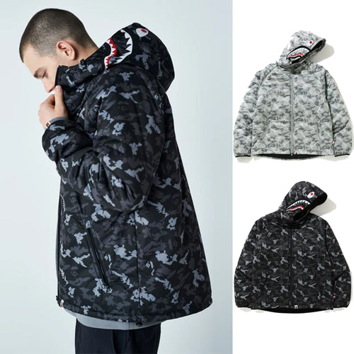 A BATHING APE DIGITAL CAMO SHARK PADDED HOODIE JACKET