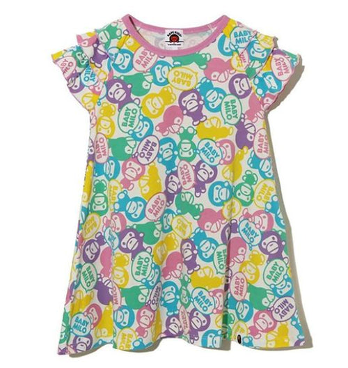 A BATHING APE BAPE KIDS PASTEL BABY MILO FRILL ONEPIECE