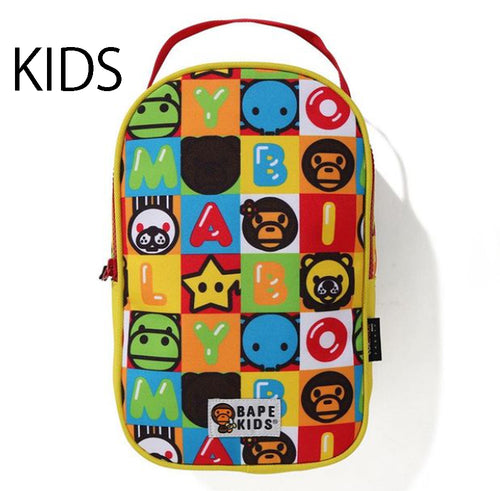 A BATHING APE BAPE KIDS MILO FRIENDS BLOCK MULTI BAG