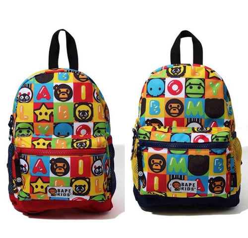 A BATHING APE BAPE KIDS MILO FRIENDS BLOCK DAYPACK