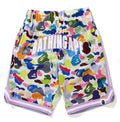 A BATHING APE BAPE KIDS MULTI CAMO BASKETBALL SHORTS