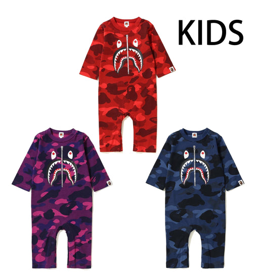 A BATHING APE KIDS COLOR CAMO SHARK ROMPERS - happyjagabee store