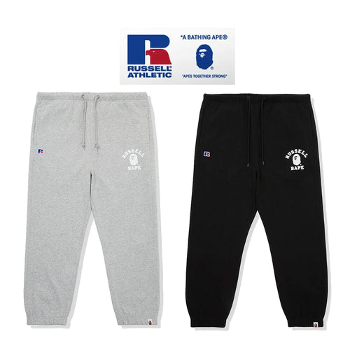 A BATHING APE × RUSSELL ATHLETIC BAPE x RUSSELL COLLEGE SWEAT PANTS