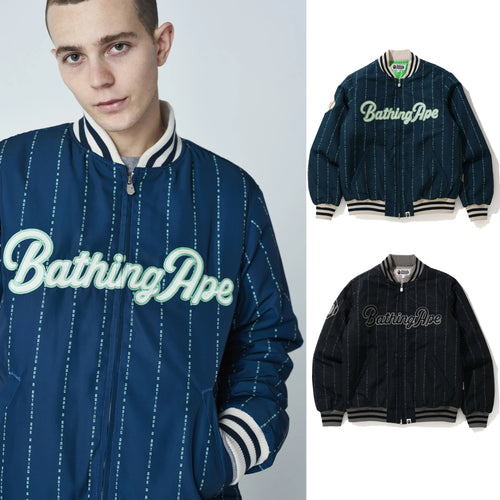 A BATHING APE TEXT STRIPE BASEBALL JACKET