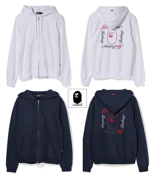 A BATHING APE MR. BATHING APE MR. EMBROIDERY ZIP HOODIE - happyjagabee store