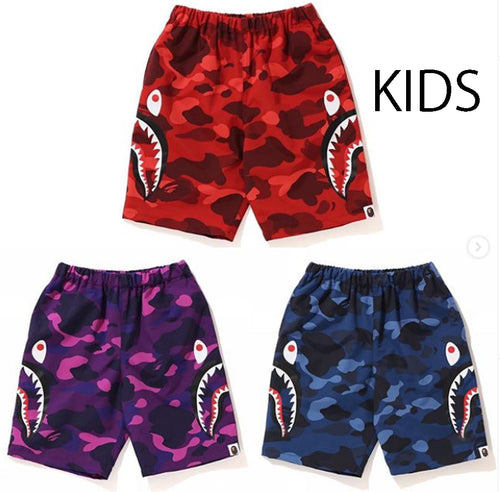 A BATHING APE BAPE KIDS COLOR CAMO SIDE SHARK BEACH PANTS