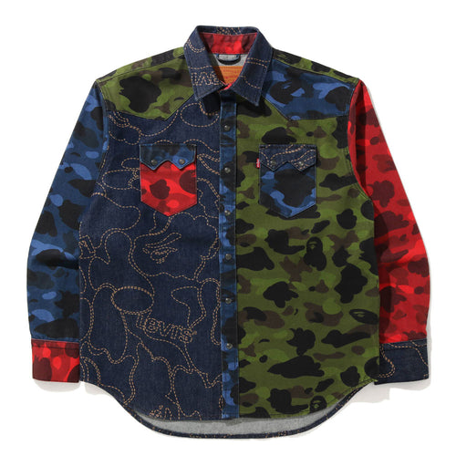 A BATHING APE BAPE x Levi's MULTI COLOR CAMO SHIRT
