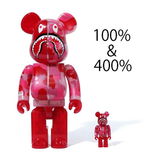 A BATHING APE CLEAR ABC CAMO SHARK BE@RBRICK BEARBRICK 100%&400% SET PINK