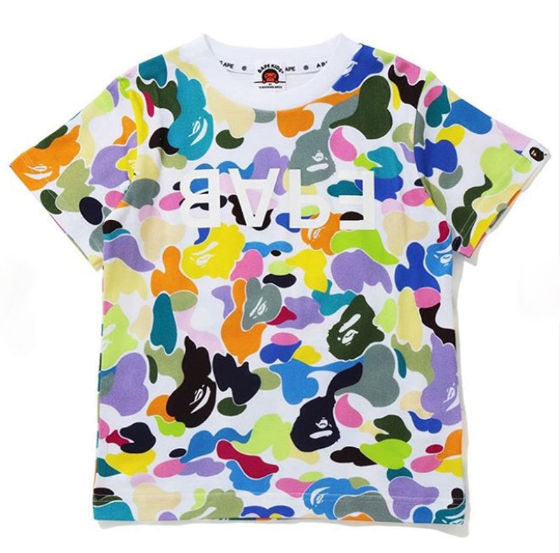 A BATHING APE BAPE KIDS MULTI CAMO BAPE TEE
