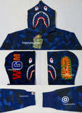 A BATHING APE COLOR CAMO SHARK FULL ZIP HOODIE - happyjagabee store