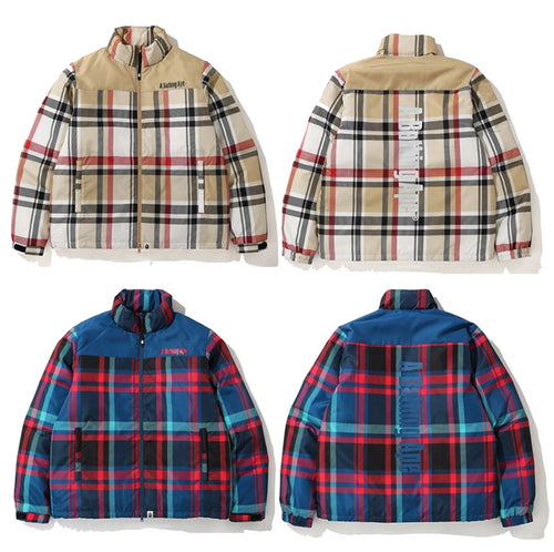A BATHING APE BAPE CHECK DOWN JACKET