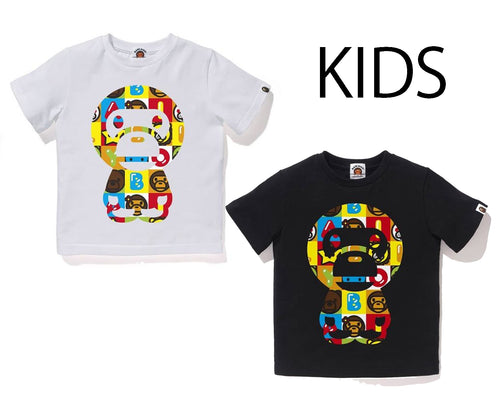 A BATHING APE BAPE KIDS MILO FRIENDS BLOCK BIG BABY MILO TEE