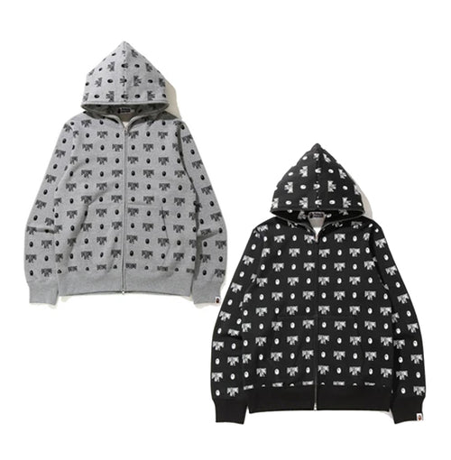 A BATHING APE MONOGRAM FULL ZIP HOODIE
