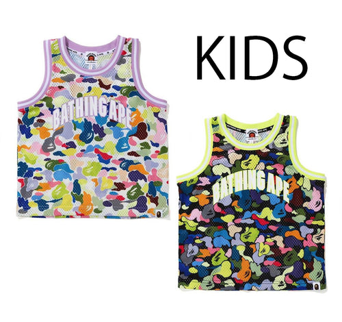 A BATHING APE BAPE KIDS MULTI CAMO BASKETBALL TANK TOP
