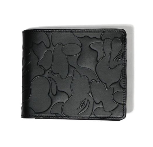 A BATHING APE SOILD CAMO LEATHER WALLET