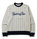 A BATHING APE TEXT STRIPE CREWNECK