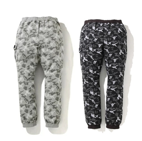 A BATHING APE DIGITAL CAMO SIDE POCKET SWEAT PANTS