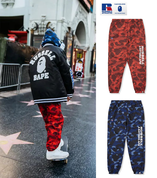 A BATHING APE × RUSSELL ATHLETIC BAPE x RUSSELL COLOR CAMO TRACK PANTS