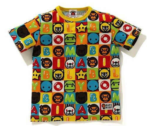 A BATHING APE BAPE KIDS MILO FRIENDS BLOCK TEE