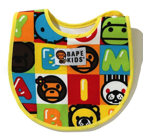 A BATHING APE BAPE KIDS MILO FRIENDS BLOCK BIB
