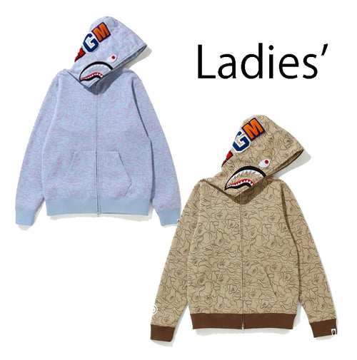A BATHING APE Ladies' LINE CAMO SHARK FULL ZIP HOODIE