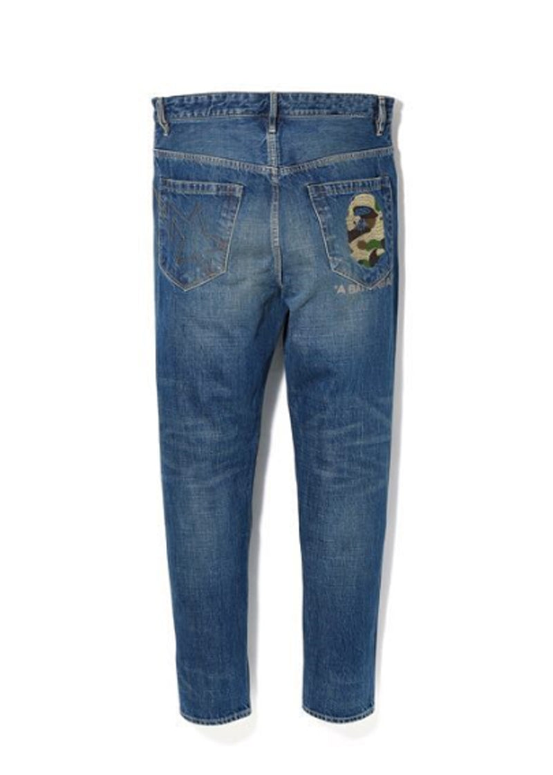 A BATHING APE TAPER APE HEAD WASHED DENIM PANTS - happyjagabee store