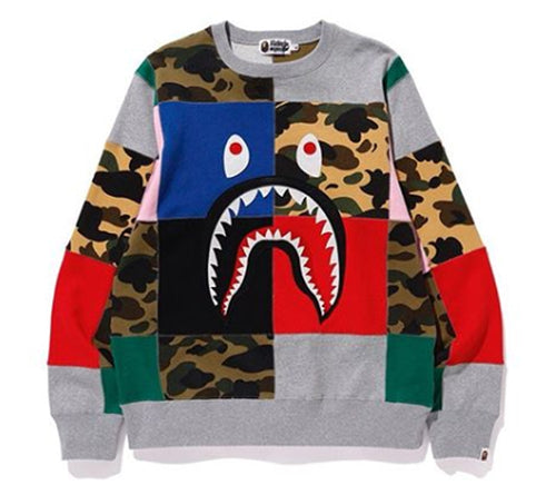 A BATHING APE PATCHWORK SHARK WIDE CREWNECK - happyjagabee store