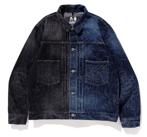 A BATHING APE x NEIGHBORHOOD BAPE NBHD CAMO DENIM JACKET - happyjagabee store