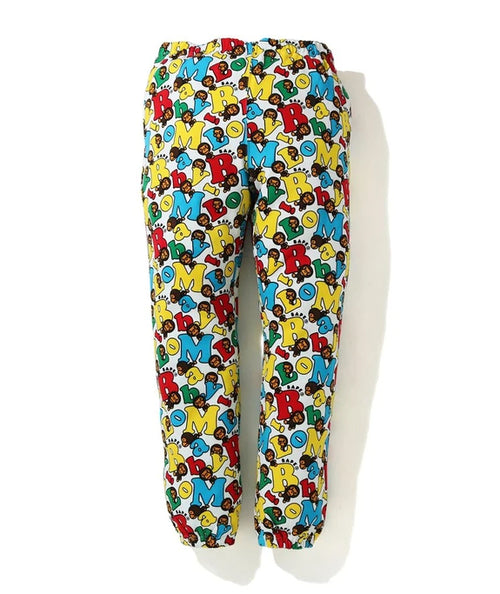 A BATHING APE BABY MILO ALPHABET SLIM SWEAT PANTS