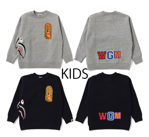 A BATHING APE BAPE KIDS SHARK SIDE DOLMAN SLEEVE CREWNECK