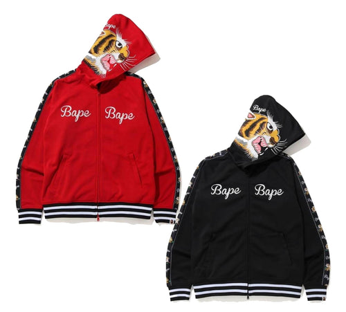 A BATHING APE TIGER JERSEY FULL ZIP HOODIE - happyjagabee store