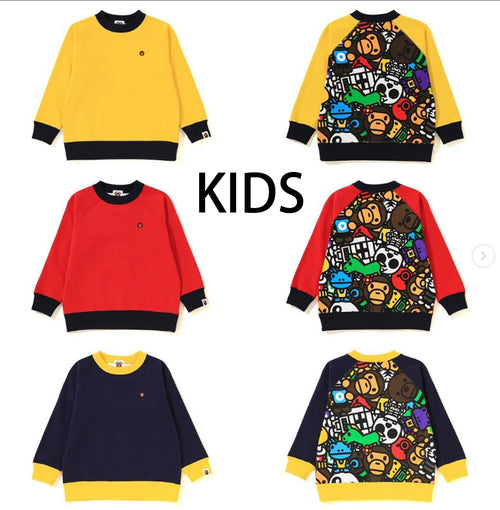 A BATHING APE KIDS BIG MILO ALL SAFARI CREWNECK