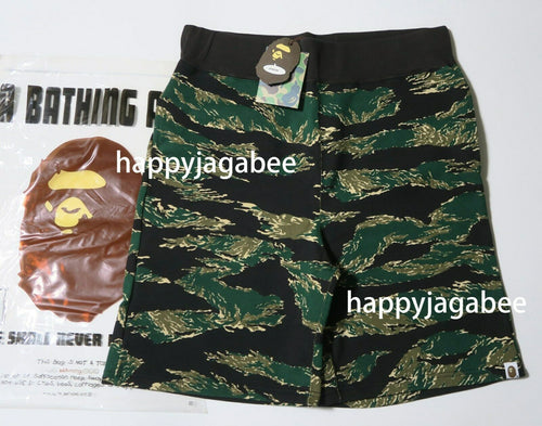 A BATHING APE TIGER CAMO SWEAT SHORTS