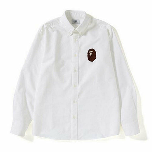 A BATHING APE RELAXED LARGE APE HEAD OXFORD SHIRT White