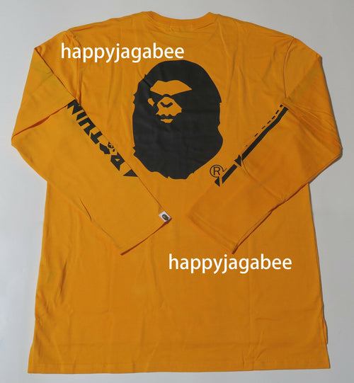 A BATHING APE SIDE SLIT LAYERED OVER SIZED L/S TEE Orange