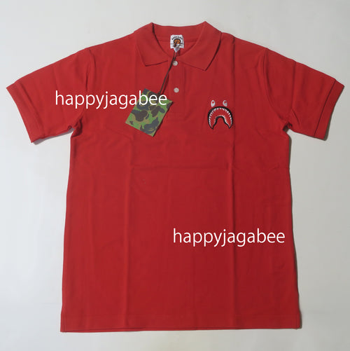 A BATHING APE BAPE KIDS SHARK POLO Shirt Red