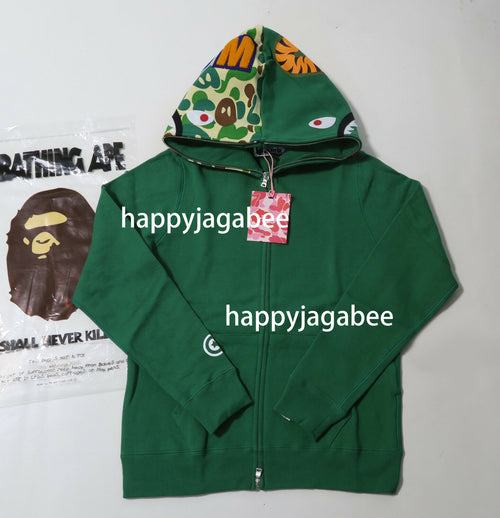 A BATHING APE Ladies' MILO CAMO MILO SHARK FULL ZIP HOODIE