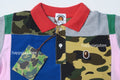 A BATHING APE BAPE KIDS PATCHWORK POLO